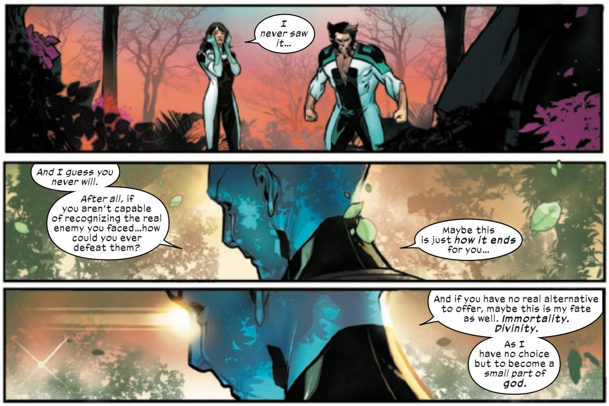 Moira and Wolverine realize that a post-human ascension is the real threat to mutantdom as the Librarian monologues about it in Powers of X #6, Marvel Comics (2019).