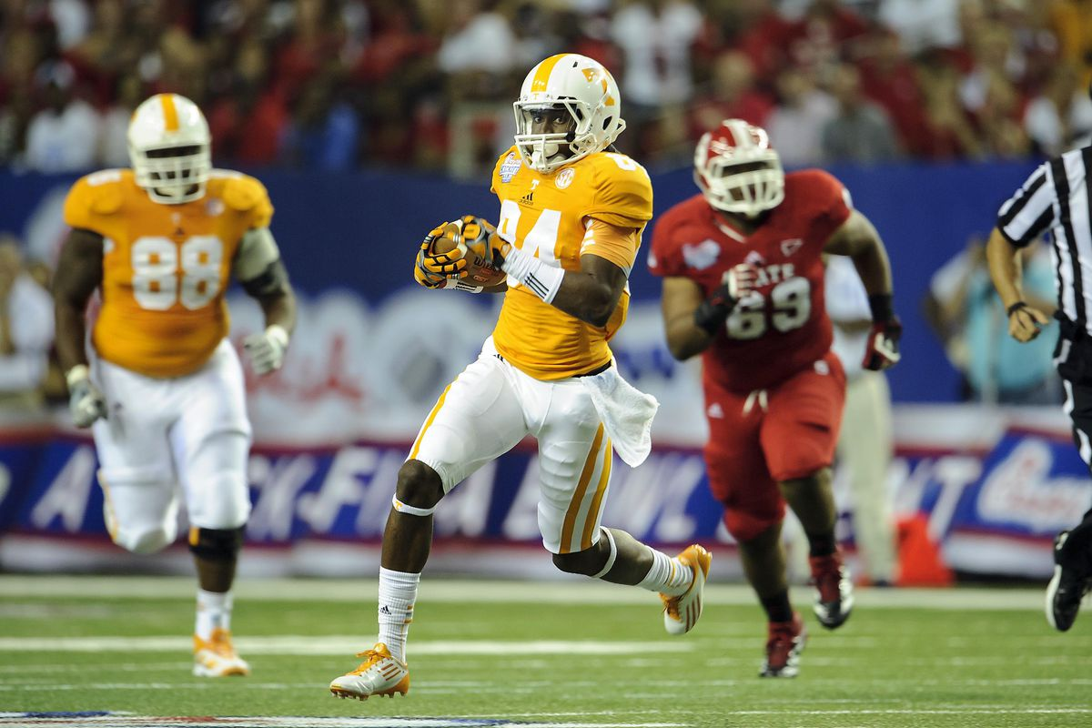 Aug 31, 2012; Atlanta, GA, USA; Tennessee Volunteers wide receiver Cordarrelle Patterson (84) during the game against the North Carolina State Wolfpack at the Georgia Dome. Tennessee won 35-21. Mandatory Credit: Paul Abell-US PRESSWIRE