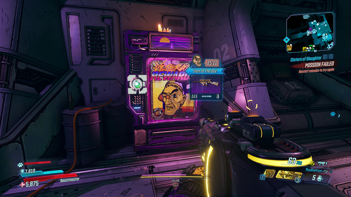 A purple vending machine stands in a hallway. It has a picture of Crazy Earl on the front and is advertising a special gun as its deal of the day.