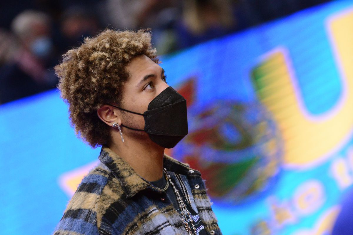 Kelly Oubre Jr. #12 of the Golden State Warriors stands on the sidelines during the game against the Oklahoma City Thunder on May 6, 2021 at Chase Center in San Francisco, California.