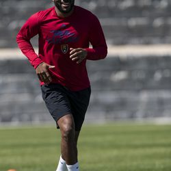 Real Salt Lake's Ashonte Morgan trains during the first day of voluntary individual training at the RSL Academy on Thursday, May 7, 2020.