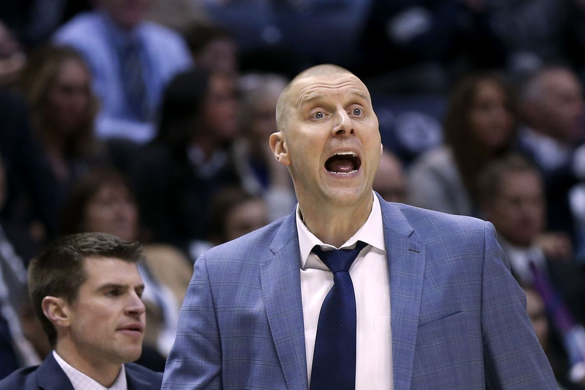 BYU Cougars coach Mark Pope directs his team in the game against Santa Clara at Brigham Young University in Provo on Thursday, Feb. 20, 2020.