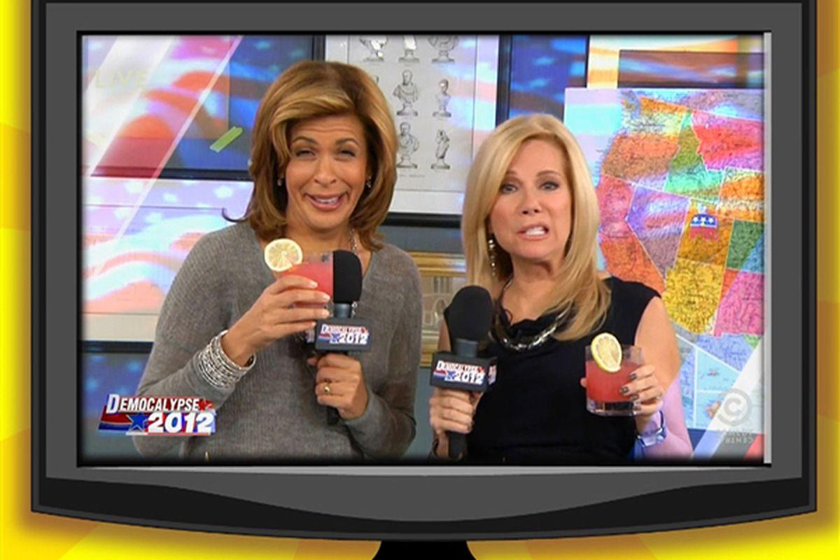 "Image via the <a href=""http://klgh.today.com/_news/2012/11/07/14996531-kathie-lee-and-hoda-enjoy-brief-daily-show-fame?lite"">Kathie Lee &amp; Hoda Blog</a>"