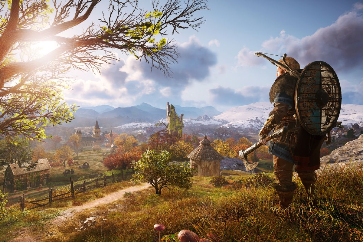 Female Eivor overlooks a valley in a screenshot from Assassin's Creed Valhalla