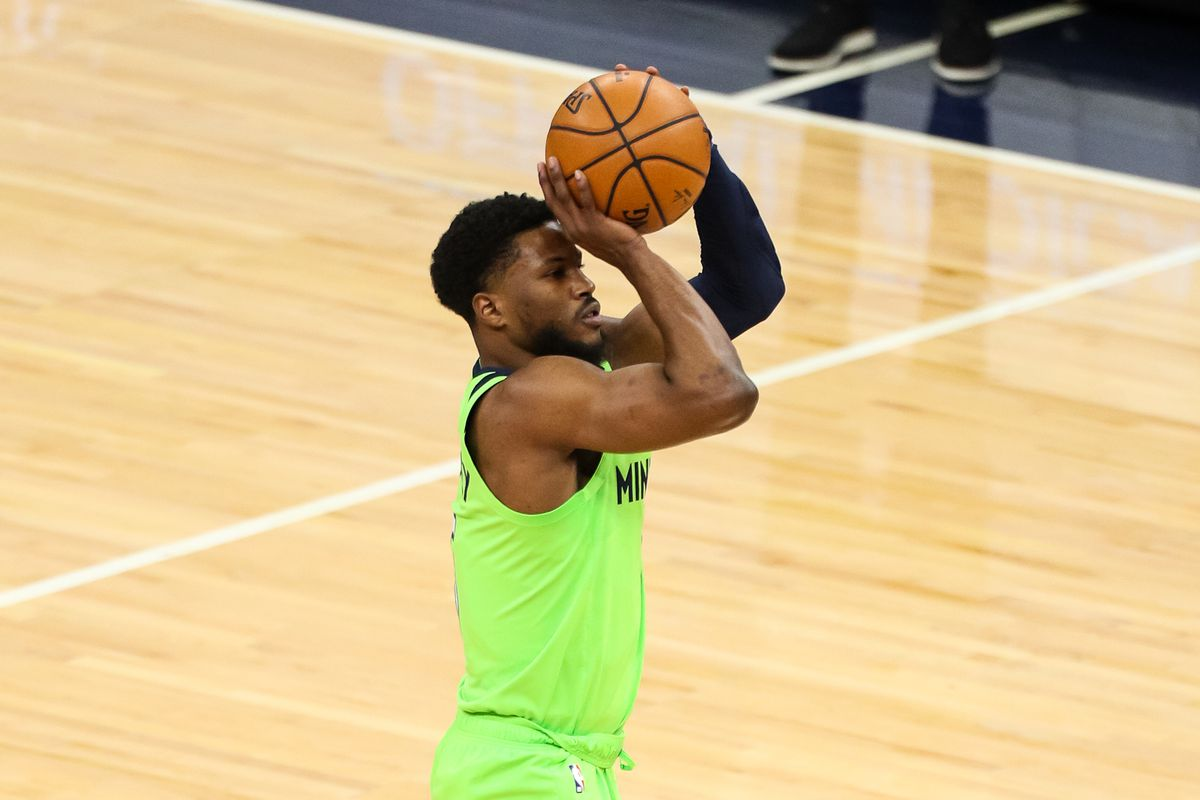 Minnesota Timberwolves guard Malik Beasley shoots the ball in the first quarter against the Houston Rockets at Target Center.