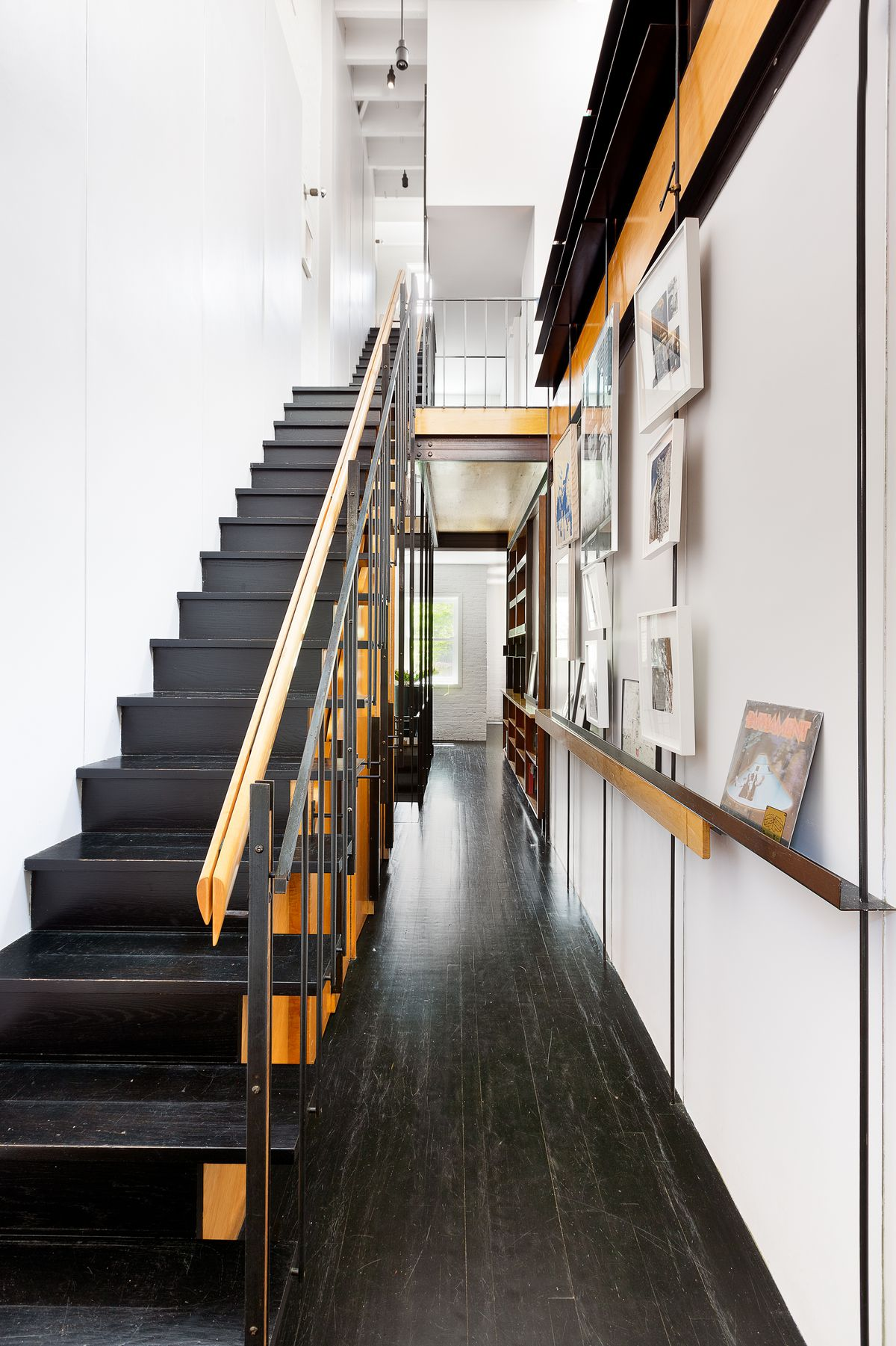An oak and steel staircase.