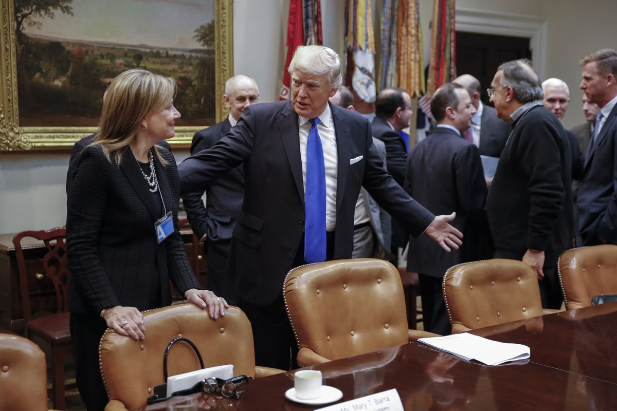 837d6b48c31d President Donald Trump greets General Motors CEO Mary Barra in the White  House in January 2017