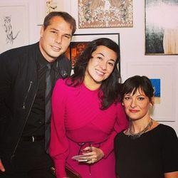 "Artist Shepard Fairey with his wife Amanda and artist Heather Mattoon. Photo via <a href=""http://instagram.com/p/jpzSd2JlWG/""target=""_blank"">@catartshowla</a>."