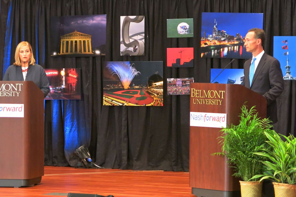 Mayoral candidates Megan Barry and David Fox face off at an August debate at Belmont University.