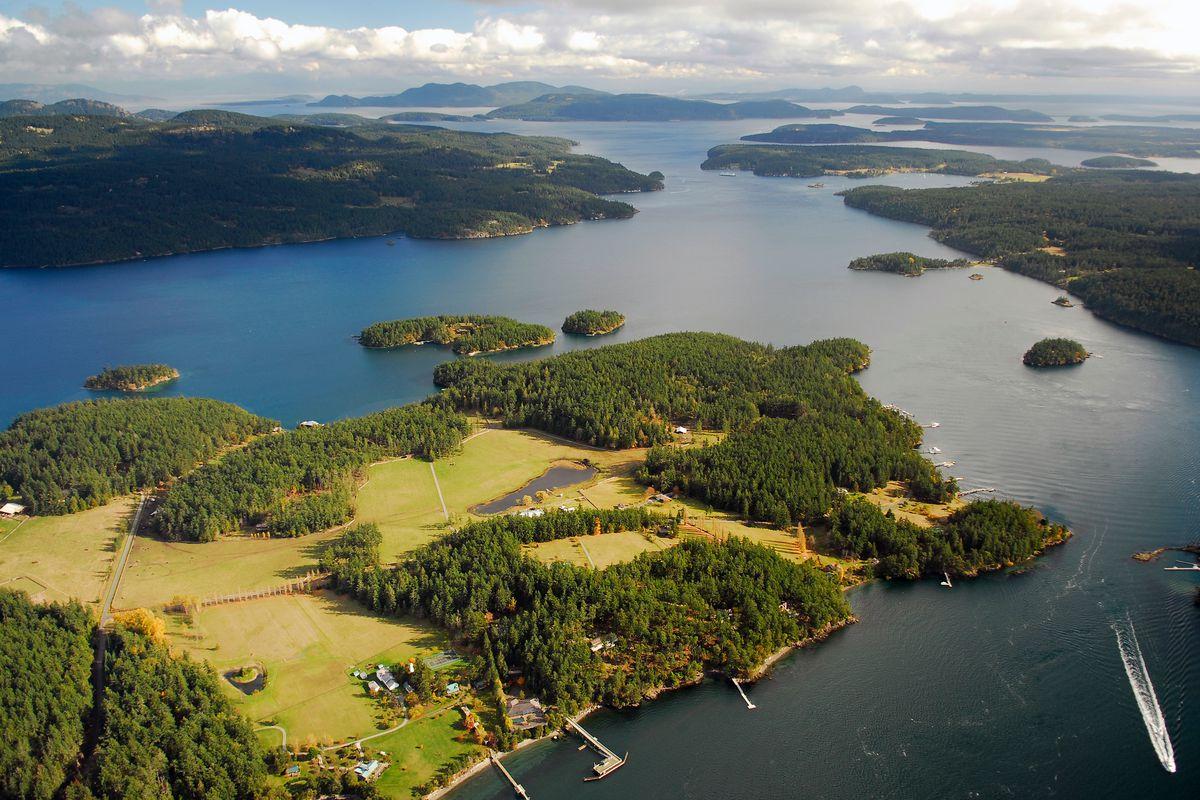 A bird's eye view of the San Juan Islands in Washington State