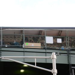 4:12 p.m. This is likely the broadcast stage for the network pregame show, on the left field porch -