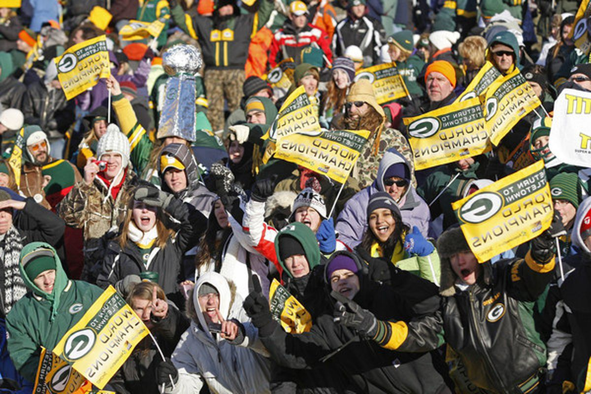 GREEN BAY WI - FEBRUARY 08: Green Bay Packers fans gather at Lambeau Field for the Packers victory ceremony on February 8 2011 in Green Bay Wisconsin.  (Photo by Matt Ludtke/Getty Images)