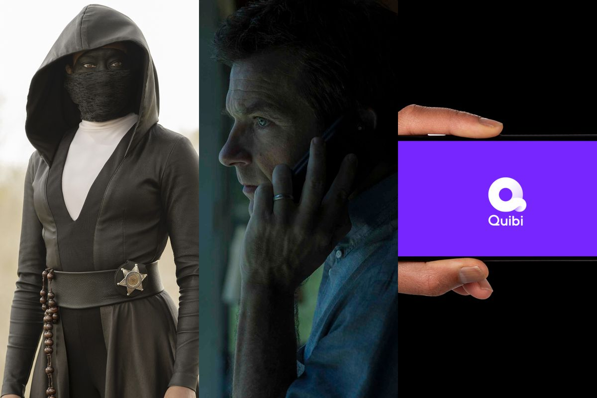 A triptych of Regina King in Watchmen, Jason Bateman in Ozark, and the Quibi logo.