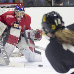 Metropolitan Riveters goaltender Katie Fitzgerald makes a save during a game in Boston, MA on Dec. 16.
