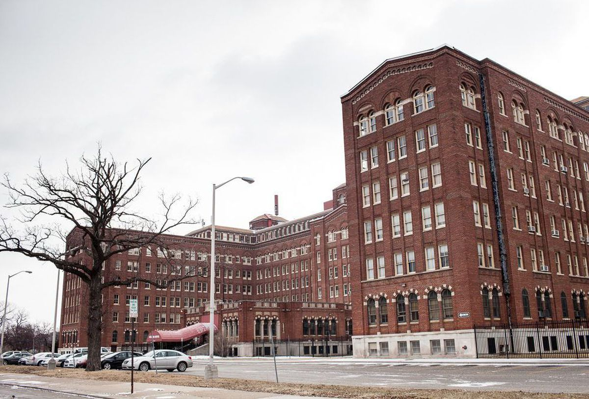 The exterior of the Herman Kiefer Hospital. The facade is red brick.