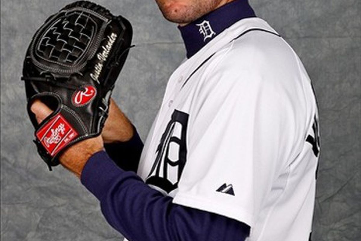 February 28, 2012; Lakeland, FL, USA; Detroit Tigers starting pitcher Justin Verlander (35) poses for photo day in the rec room at the Detroit Tigers headquarters.
