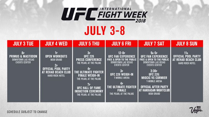 UFC's International Fight Week schedule revealed for July 3