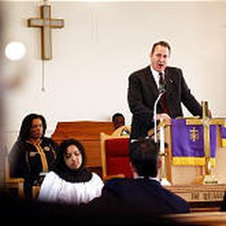 Utah Attorney Mark Shurtleff speaks at the Trinity AME Church at service honoring Martin Luther King Jr.