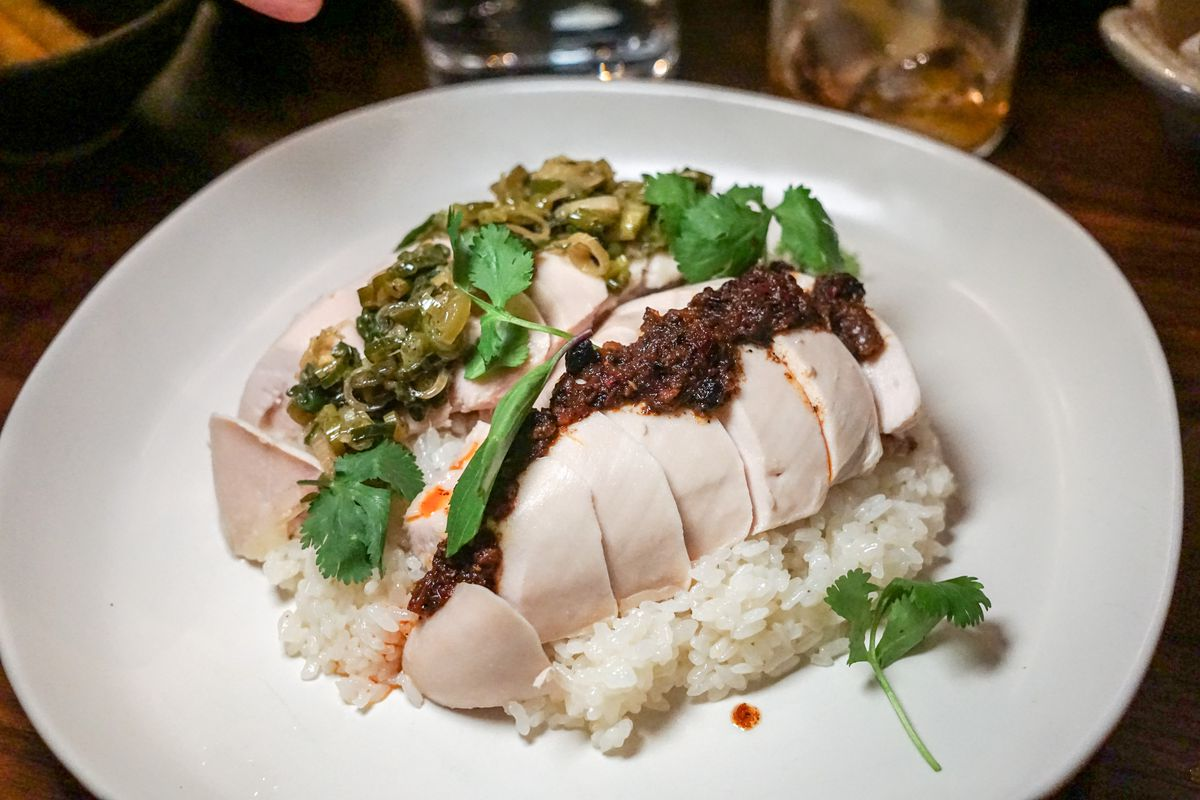 Boiled chicken with rice at Majordomo