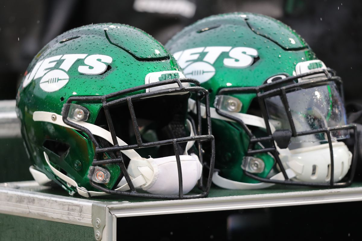 A general view of a New York Jets helmet before a game against the Buffalo Bills at New Era Field on December 29, 2019 in Orchard Park, New York.