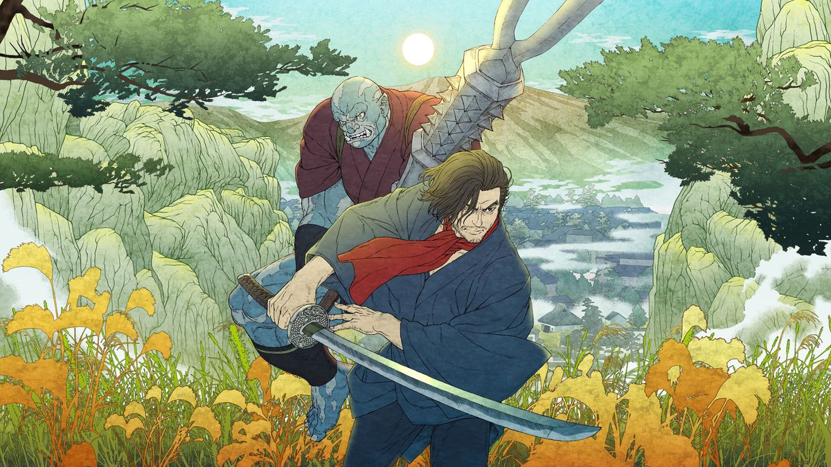 Teaser art for Bright: Samurai Soul, showing human samurai Izou and orc warrior Raiden charging forward in a lush field surrounded by flowers