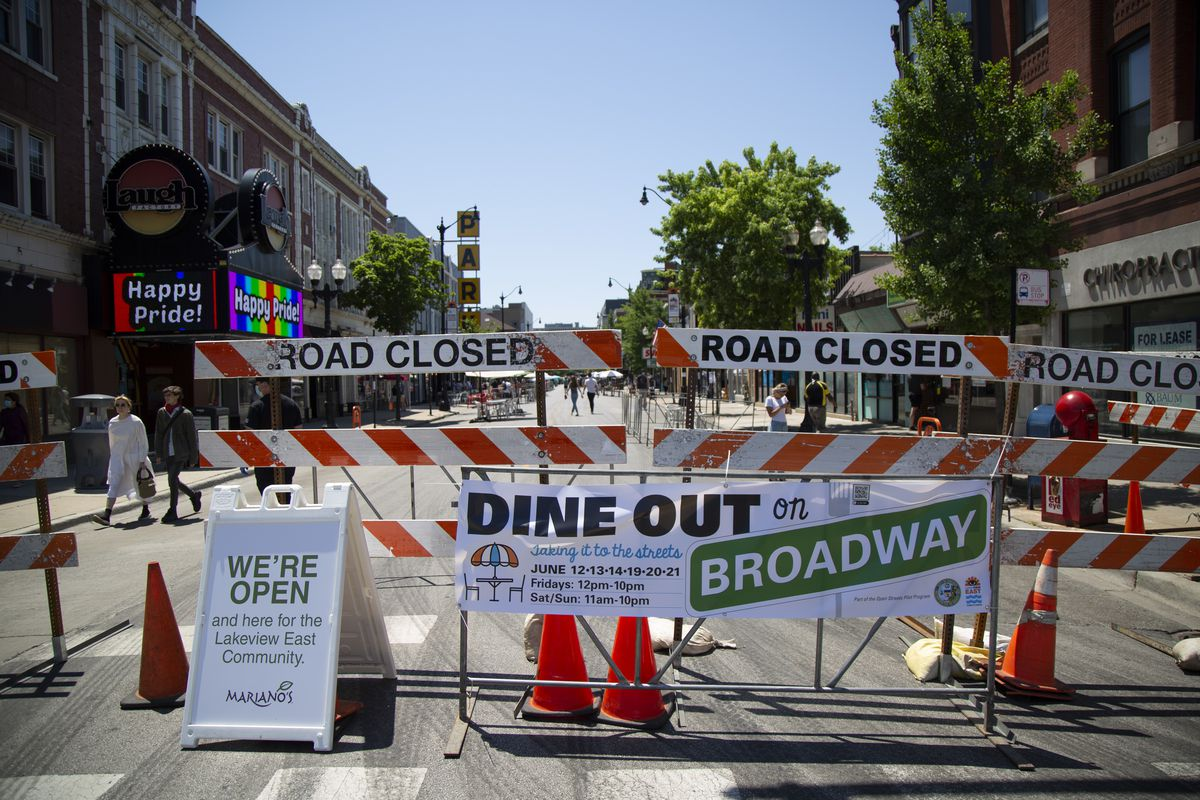 A section of Broadway closed earlier this month as part of the city's Open Streets program.