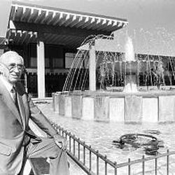 Obert C. Tanner stands outside his Salt Lake business. He died in 1993 at age 89.