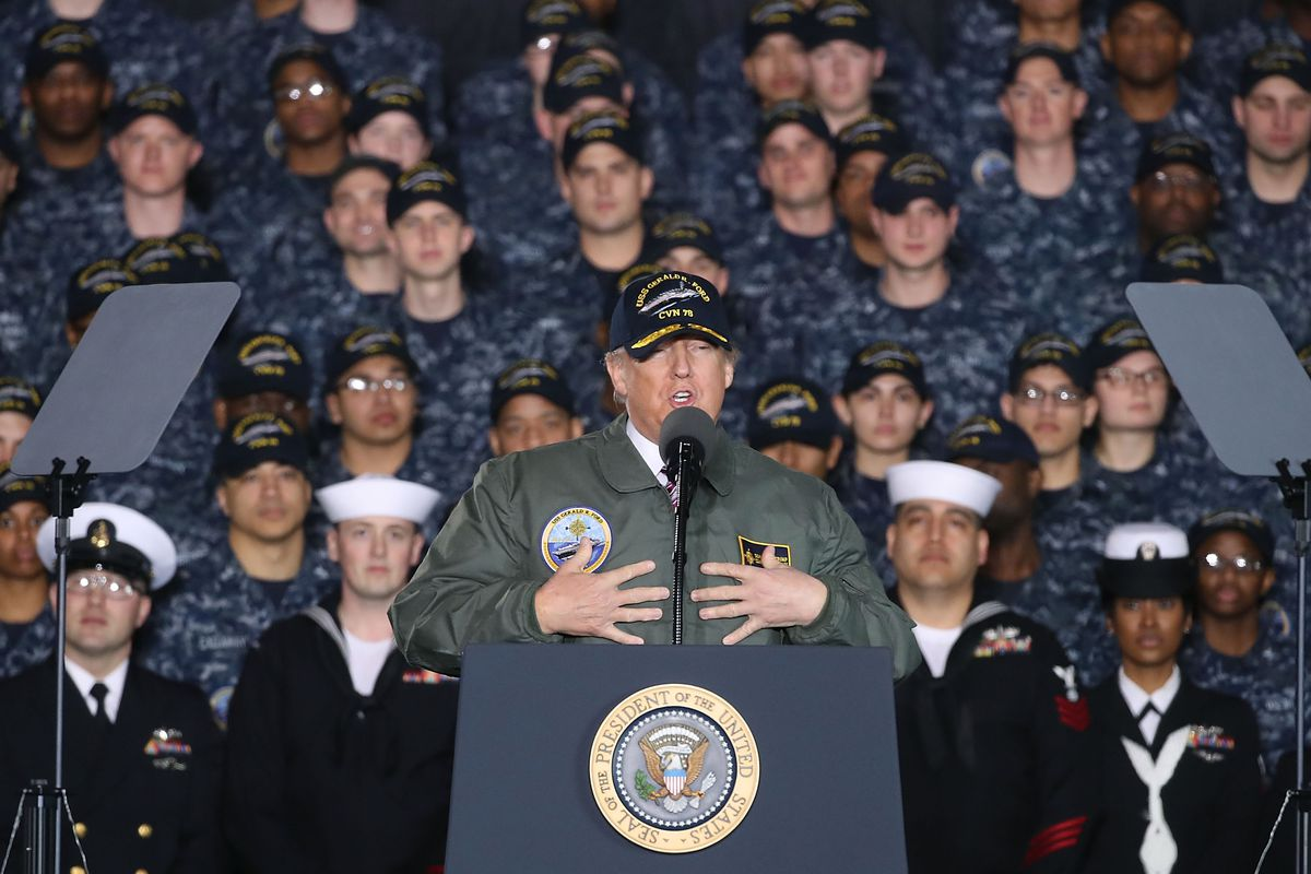 Donald Trump Delivers Remarks Aboard The USS Gerald R. Ford