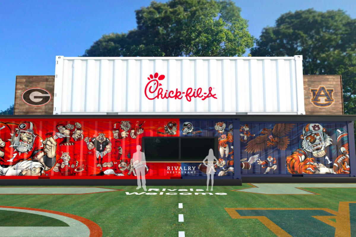 """A rendering of the """"Rivalry Restaurant,"""" with Georgia's side decorated in red and black and Auburn's in orange and blue."""