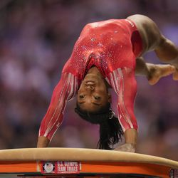Simone Biles competes on the vault during the women's U.S. Olympic Gymnastics Trials Sunday, June 27, 2021, in St. Louis.