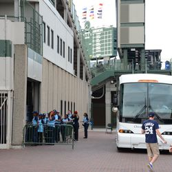4:41 p.m. Visiting team back to parking on the Sheffield Avenue sidewalk, while employees line up outside of Gate A -