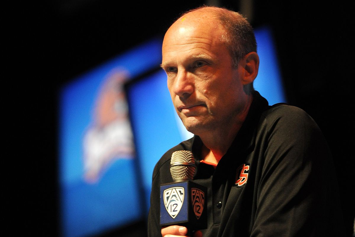 July 24, 2012; Los Angeles, CA, USA;    Oregon State Beavers head coach Mike Riley answers media questions during PAC-12 Media Day at Universal Studios Hollywood. Mandatory Credit: Jayne Kamin-Oncea-US PRESSWIRE