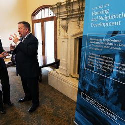 Mayor Jackie Biskupski speaks with Dan Nackerman of the Housing Authority of Salt Lake City in Salt Lake City on Thursday, Feb. 2, 2017, as Growing SLC: A Five-Year Plan 2017-2021 is launched.