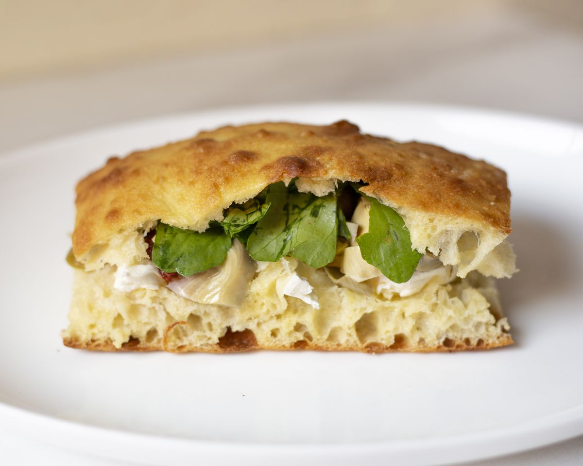 The cross-section of a mozzarella sandwich