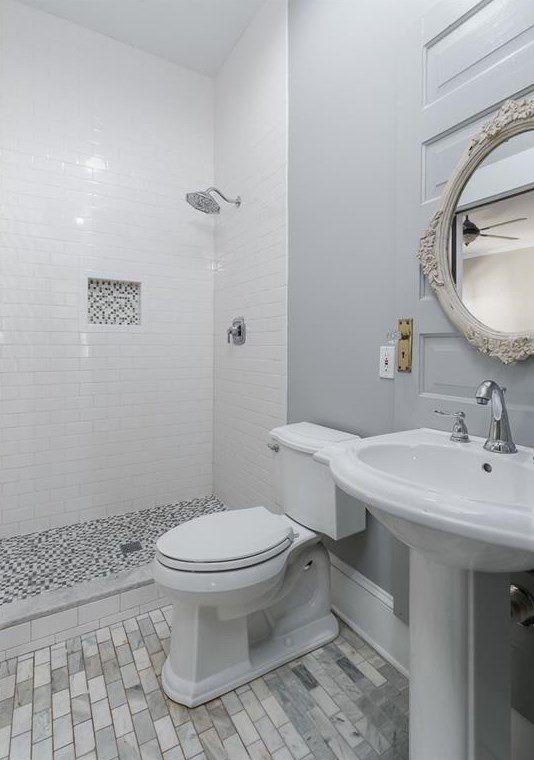 A white bathroom.