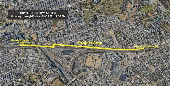 A street-view map of lane closures on the Metropolitan Branch Trail. The project area is highlighted in red and runs from west to east.