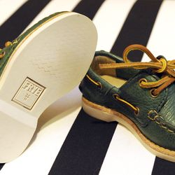 Frye sully boat shoes in green, $72 at The Red Balloon