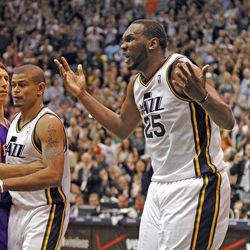 Utah's Al Jefferson complains that a foul wasn't called as he was hit in the head on a basket in the final minute as the Utah Jazz are defeated by the Phoenix Suns 107-105 as they play NBA basketball Wednesday, April 4, 2012, in Salt Lake City, Utah.