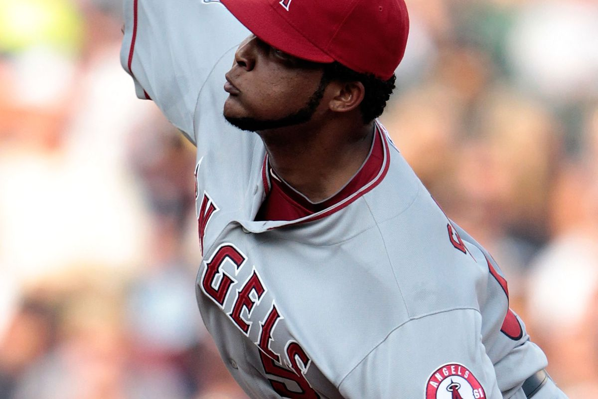 DETROIT, MI - JULY 16:  Ervin Santana #54 of the Los Angeles Angels of Anaheim pitches during the second inning of the game against the Detroit Tigers at Comerica Park on July 16, 2012 in Detroit, Michigan.  (Photo by Leon Halip/Getty Images)