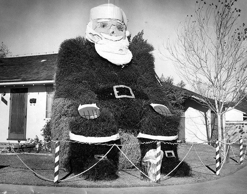 Santa made of tumbleweeds, 1959