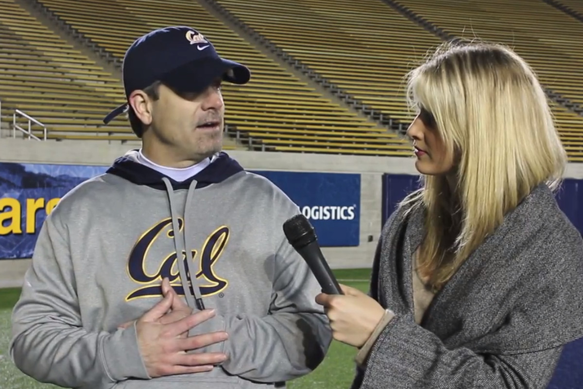 Cal wide receivers coach Rob Likens with Lindsay Brauner