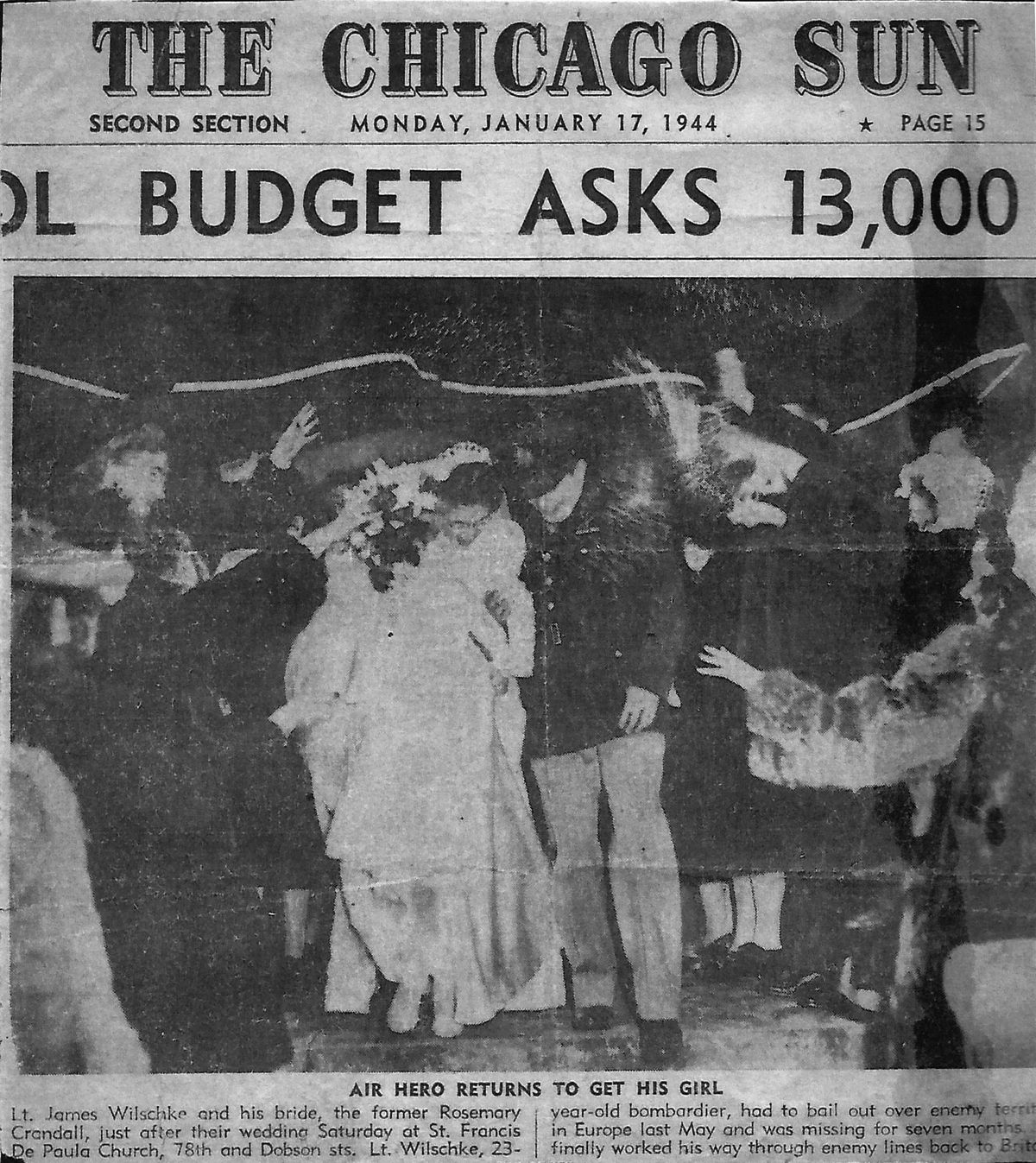 """This photo from the wedding of Lt. James """"Bud"""" Wilschke and Rosemary Crandall made the front page of The Chicago Sun on Jan. 17, 1944."""