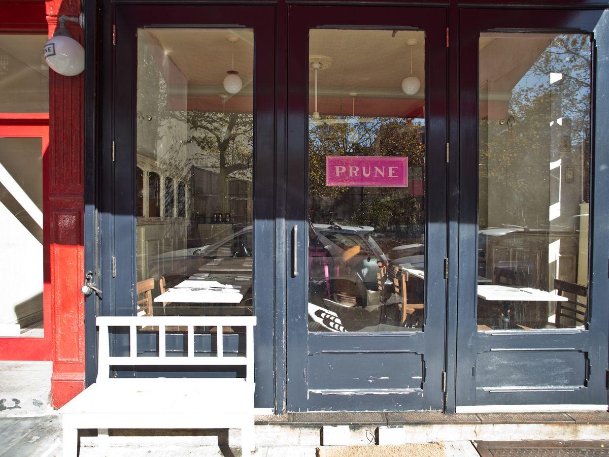 The grey doors that lead to Prune
