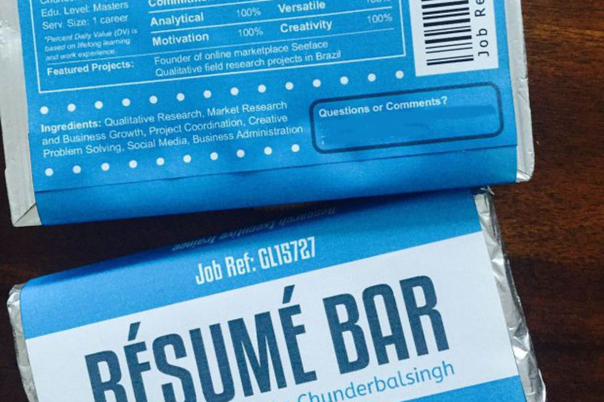 world s greatest job candidate submits her resume on a chocolate bar