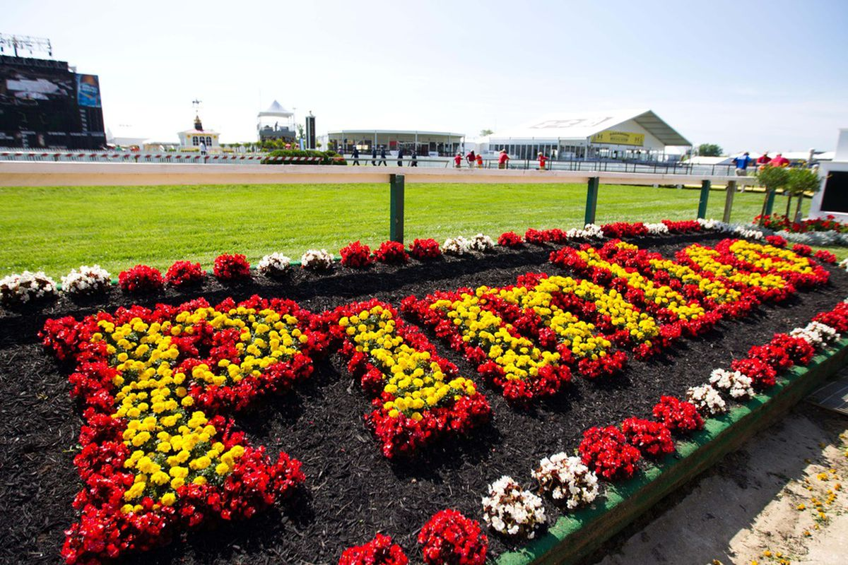 May 18, 2012; Baltimore, MD, USA; A general view of infield landscaping before the 137th running of the Preakness Stakes at Pimlico Race Course. Mandatory Credit: Maxwell Kruger-US PRESSWIRE
