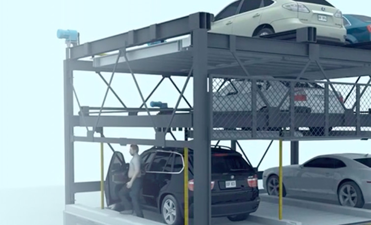 A series of cars stacked by robot parking.