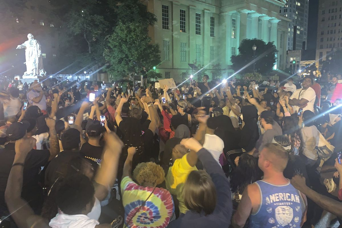 In a photo provided by Jada W., protesters gather Thursday, May 28, 2020, in downtown Louisville, Ky., against the police shooting of Breonna Taylor, a black woman fatally shot by police in her home in March. At least seven people were shot during the protest.