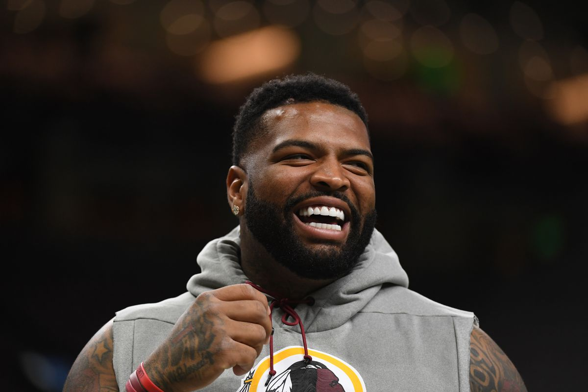 Washington offensive tackle Trent Williams smiles before the game between Washington and the New Orleans Saints at the Mercedes-Benz Superdome on October 8, 2018.