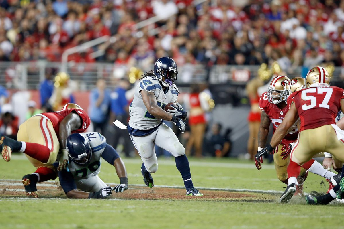 Marshawn Lynch of the Seattle Seahawks in action against the San Francisco 49ers at Levi's Stadium on October 22, 2015 in Santa Clara, California.