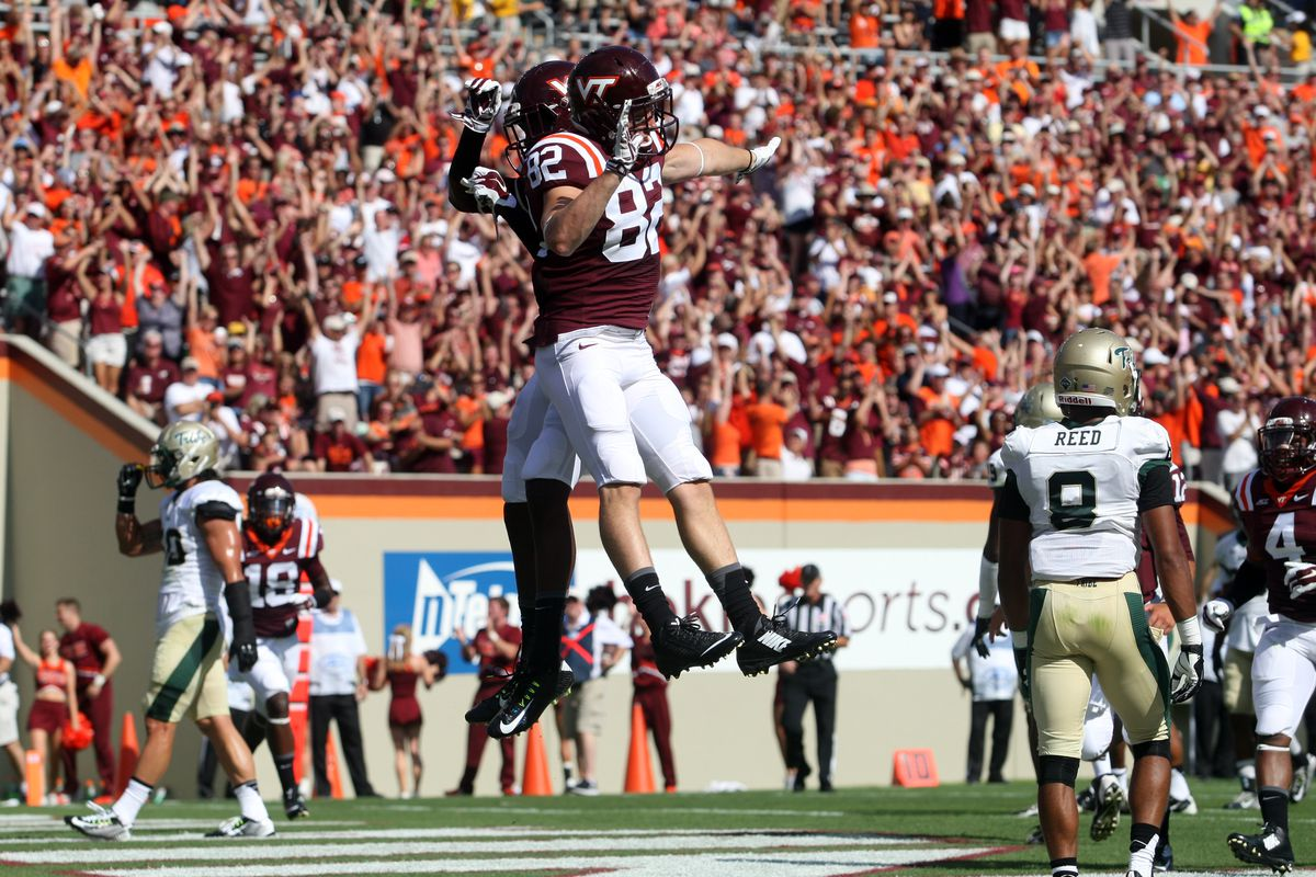 Hokie Receivers Isaiah Ford and Willie Byrn celebrating a rare touchdown